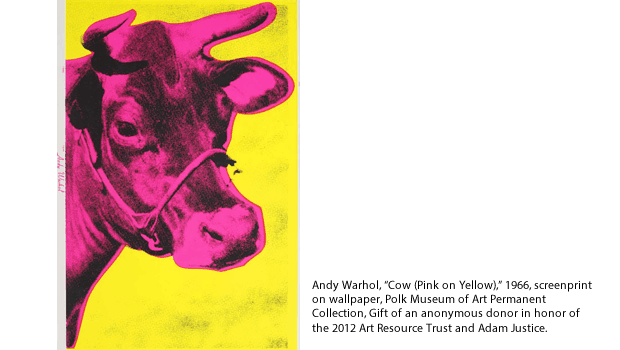 "Andy Warhol, ""Cow (Pink on Yellow),"" 1966, screenprint on wallpaper, Polk Museum of Art Permanent Collection, Gift of an anonymous donor in honor of the 2012 Art Resource Trust and Adam Justice."